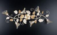 Plafoniera soffitto lampada classico ferro battuto fiori foglie oro arte povera