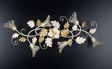 Plafoniera soffitto lampada classico ferro battuto fiori foglie rose oro