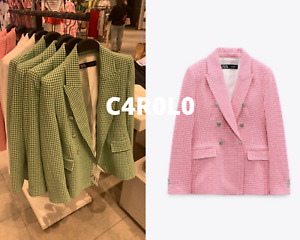 ZARA WOMAN NWT SS21 GREEN/PINK FITTED HOUNDSTOOTH BLAZER ALL SIZES REF. 7808/160