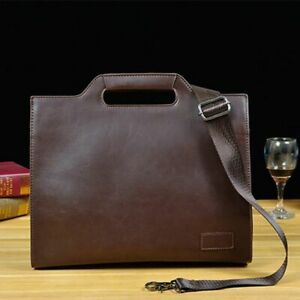 Vintage Business Briefcase For Men Pu Leather Office Computer Laptop Casual Bags