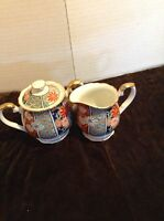 "Arita Imari Sugar Bowl & Creamer ""Fan"" Pattern Made In Japan Excellent Condition"
