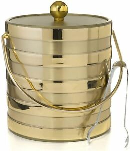 Hand Made In USA Brushed Gold Stripes Double Walled 3-Quart Ice Bucket