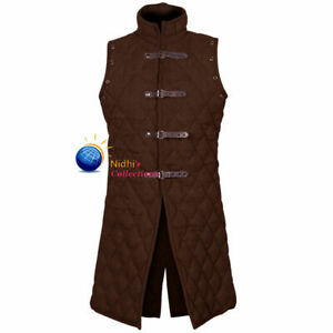 Medieval Gambeson Costume Thick Padded Sleeves Less Aketon Jacket
