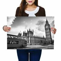 A2 - Houses Of Parliament Big Ben London Poster 59.4X42cm280gsm(bw) #37094