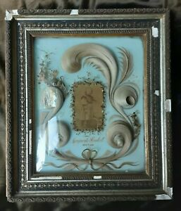 ANTIQUE MOURNING MEMENTO MORI HAIR ART PICTURE PHOTO GIRL CHILD DOWN SYNDROME