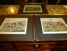Lot of 3 H. Alken Hand Tinted Prints - English Fox Hunt Scenes - matted & framed