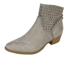 ERIN! Women's Western Perforated Cut Out Braided Tassel Block Heel Ankle Boots