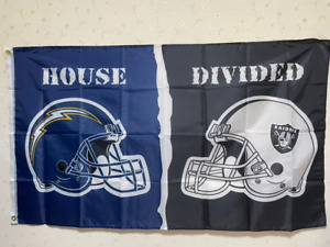 San Diego Chargers Oakland Raiders Helmet House Divided Flag 3X5 FT NFL Banner P