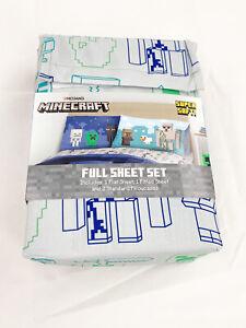 "Minecraft ""Bad Night"" 4 Piece FULL Size Sheet Set Creeper, Skeleton, Zombie"