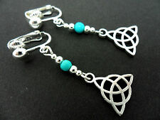 A PAIR OF TIBETAN SILVER TURQUOISE BEAD CELTIC KNOT CLIP ON EARRINGS. NEW.