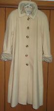 ~Jonathan Michael Wool Blend Long Coat Trench Ivory Faux Fur Trim Cuffs Sz S/M~