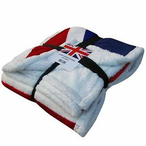 Giant Luxury Union Jack Fleece Sherpa Blanket/Sofa Throw (130cm x 160cm)