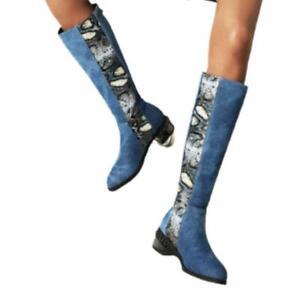 Ladies Biker Round Toe 3.5cm Heel Zipper Knee High Motor Boots Big Size 34-48 L