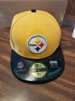 New Era Pittsburgh Steelers Size 7 1/4 Hat Cap On Field NFL See Pictures