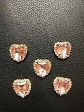 5 Rhinestone Pink Heart Flatback Button Embellishment Craft Wedding