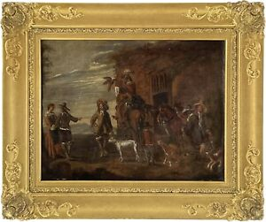 Hawking Party Landscape Old Master Oil Painting 18th Century Northern European