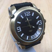 Strada Men Large 49mm Antique Bronze Finish Analog Quartz Watch Hour~New Battery