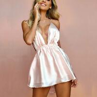 UK Women Ladies Sexy Sleeveless Deep V-Neck Backless Bandage Camis Mini Dress VP