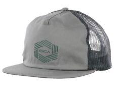 RVCA - MEN'S BAR HEX BEIGE GRAY MESH SNAPBACK TRUCKERS HAT CAP - One Size