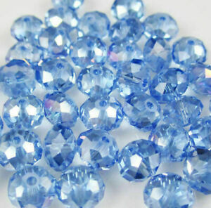 Wholesale faceted65pcs small round glass crystal 6x8mm beads