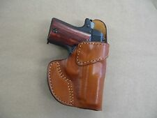 Kimber Micro 380 Leather Clip On OWB Belt Concealment Holster CCW - TAN RH