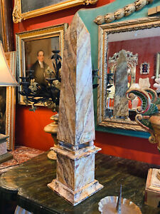 Grand Tour Neoclassical Tall Faux Marble Painted Wood Obelisk
