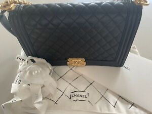 Chanel Black Quilted Lambskin Leather New-Medium Boy Bag Antique Gold Hardware ❤