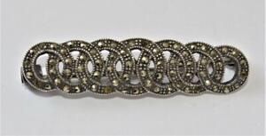 Art Deco Stamped 925 STERLING Silver Marcasite Pin Brooch 5.57g