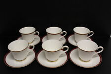 Lot of 6 Minton Bone China SATURN Red Royal Doulton Tea Cup and & Saucer Set