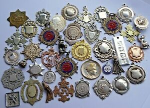 Huge lot 40 antique pocket watch albert chain fobs inc silver & gold plated.294g