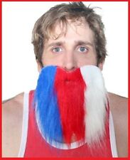 Red Blue White BEARD WHISKERS Australia Commonwealth Olympic Rio Costume Party