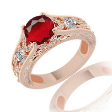 Ruby Solitaire With Accents Ring 10K Rose Gold