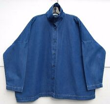 """Eskandar DENIM Medium Weight Cotton Scrunch Neck 27"""" Long Top (1) $895"""
