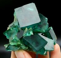 157.5g WOW!! Beauty Transparent Green Cube Fluorite Mineral Specimen/China
