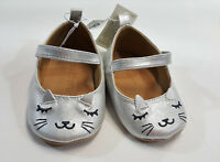 NWT Old Navy Baby Girls Size 3-6 or 6-12 Months Silver Kitty Cat Crib Shoes