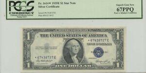 1935E $1 Silver Cert FR#1614* PCGS 67 Superb Gem PPQ Star Note