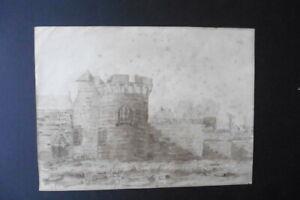 BELGIAN SCHOOL 19thC - CITYSCAPE SIGNED LANGEROCK - HAM CASTLE - INK DRAWING