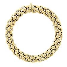 "Italian FOPE 18k Yellow & White Gold 7"" 10.2mm Thick Puffed Mesh Chain Bracelet"
