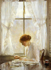 Oil painting joseph rodefer de camp - young woman by window in sunny day canvas