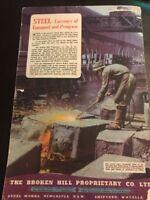 BHP Steel Works Newcastle Original 1940s Vintage Print Ad WWII Era