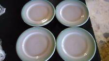 4 VTG. SHENANGO CHINA Restaurant Ware DESSERT PLATES/SAUCER Aqua airbrush Rim