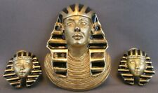 Vintage Erwin Pearl Egyptian Revival Pharaoh King Tut Brooch Pendant Earrings