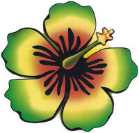 Rasta Hibiscus - Flower Window Sticker / Decal