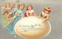 Easter~Elegant Victorian Children Celebrate~Huge Yellow Egg~Silver Back~Emboss