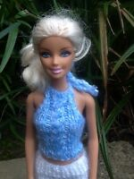 Hand Knitted Barbie/Sindy Doll Clothes Pretty Blue Multi Cable  Halter Neck Top