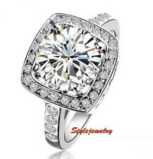 18k White Gold Plated Round Cut Big Square Crystal Engagement Ring Size 7 R54