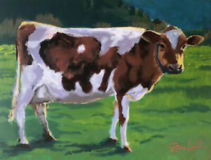"Cow painting, 12 x 16"". FREE DOMESTIC SHIPPING."