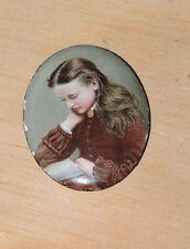 Antique VICTORIAN Girl Reading BOOK Enameled MINIATURE TINY Oval Painting c1800s