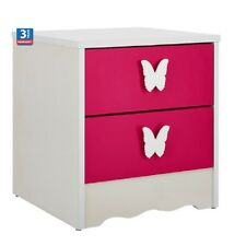 FF PRINCESS 2-DRAWER BEDSIDE TABLE Girls Room Butterfly Handles, 40x39cm - PINK
