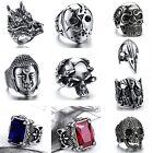 Men Punk Style Jewelry Buddha Head Skull Dragon Titanium Steel Ring US Size 7-13
